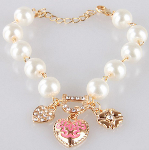 Women's Korean Style Crystal Pearl Love Heart Flower Charm Bracelet