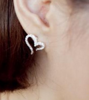Women's Silver Plated Crystal Rhinestone Heart Ear Stud Earrings