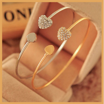 Gold or Silver Plated Rhinestone Heart Shape Open Cuff Bangle Bracelet