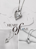 Silver White Chain Necklace With Crystal Heart Pendant For Women & Girls