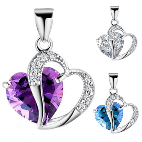 3 Colors Women & Girls Heart Crystal Amethyst Pendant Necklace
