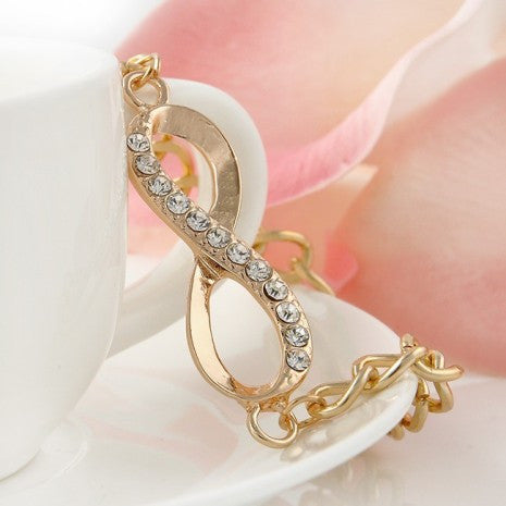 Gold Fashion Jewelry Crystal Rhinestone Infinity Chain Bracelet