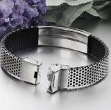Men's Stainless Steel and Black Leather Cuff Wristband Bracelet