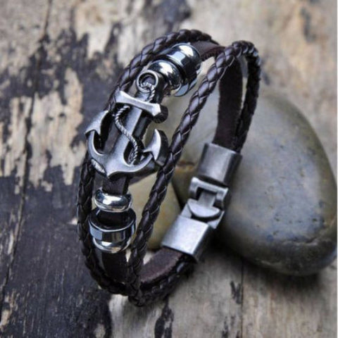 Black Retro Braided Rope Leather Nautical Anchor Bracelet