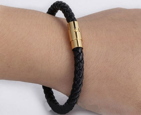 Leather Bracelet Stainless Steel Gold Plated Magnetic Buckle