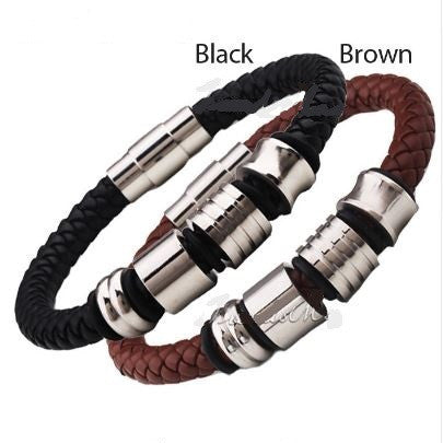 Men's Braided Leather Bracelet With Stainless Steel Beads & Magnetic Clasp
