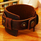 Vintage Leather Cuff Double Wide Bracelets With Snaps