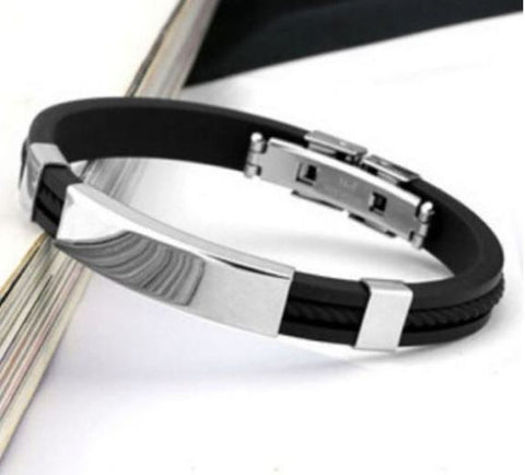Men's Genuine Braided Leather Stainless Steel Magnetic Clasp Bracelet