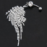 Silver Plated Crystal Rhinestone Tassel Navel Dangle Ring Bar Body Piercing Jewelry