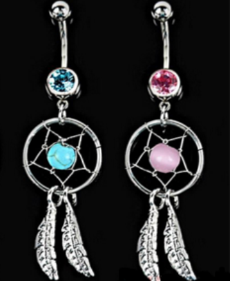 Crystal Dream Catcher Wings Navel Dangle Barbell Body Ring