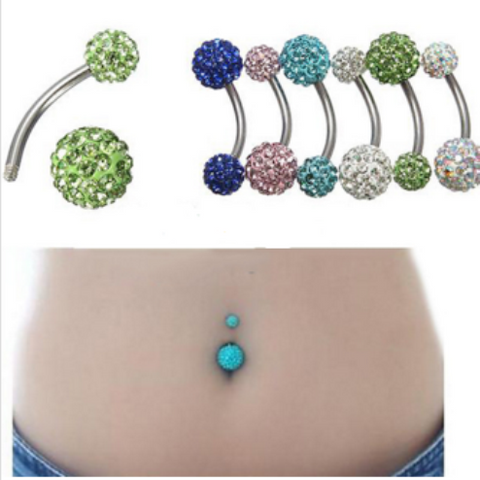 Rhinestone Crystal Ball Barbell Navel Ring Body Piercing 1pcs