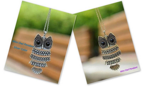 Vintage Silver or Copper Alloy Owl Pendant Necklace with Long Chain