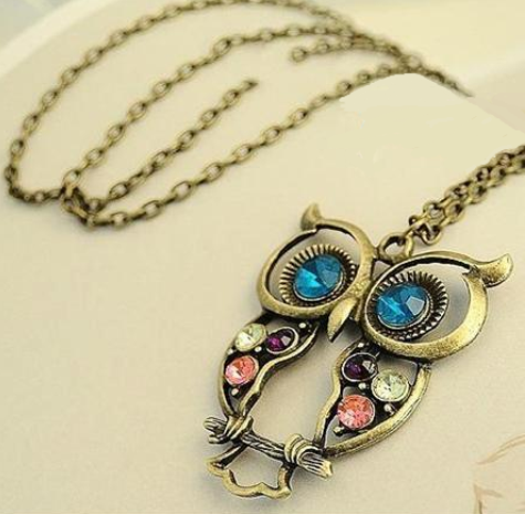 Vintage Colorful Crystal Owl Pendant Necklace With Antique Bronze Finish and Long Chain