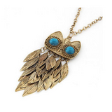 Gold Leaves Owl Style Charm Pendant Necklace with Long Chain