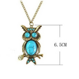Unique Vintage Turquoise Owl Pendant Necklace with Long Chain