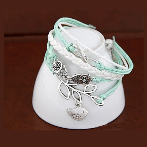 New Infinity Love Heart Owl Friendship Leather Charm Bracelet
