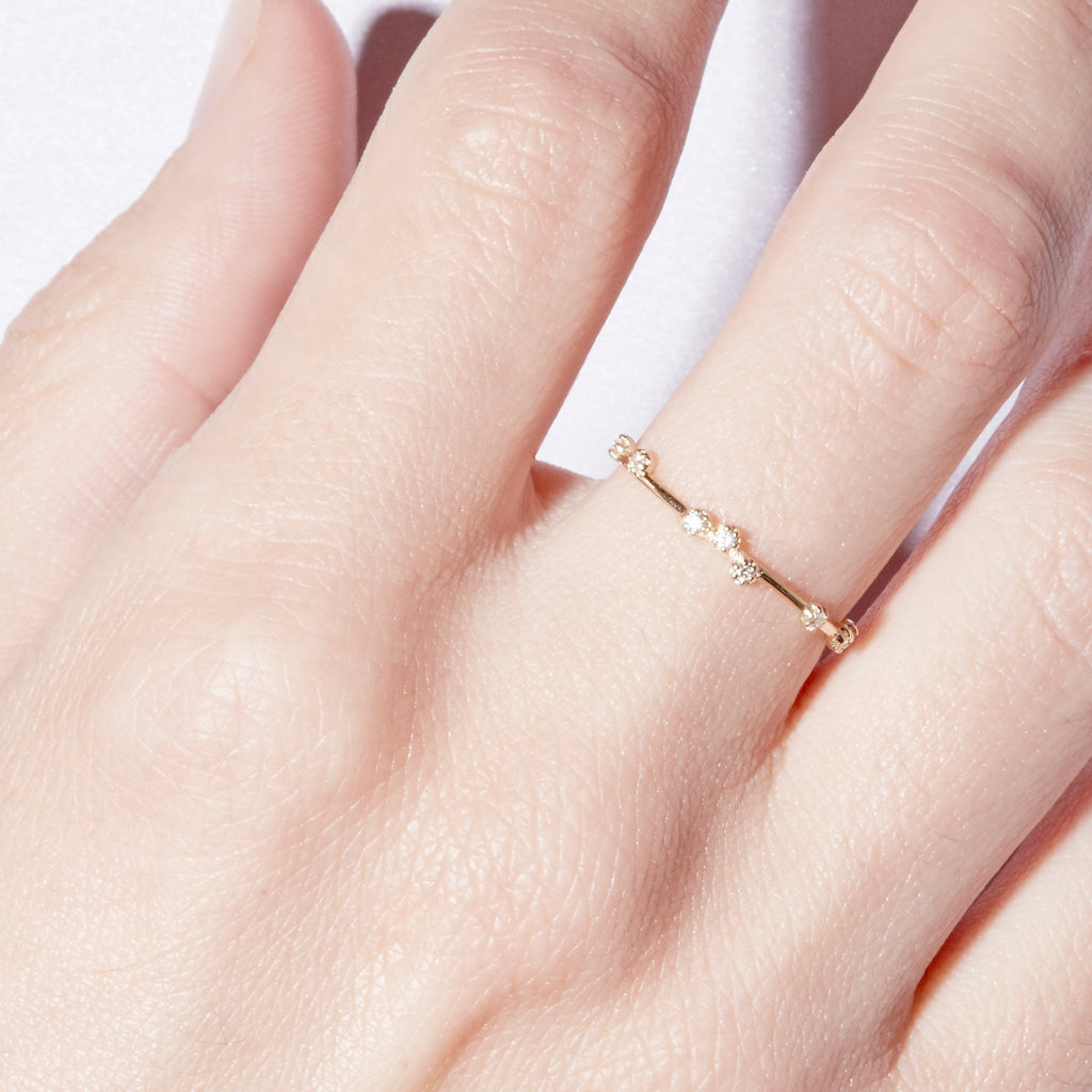 Scattered Diamond Ring (Gold and White Diamond)