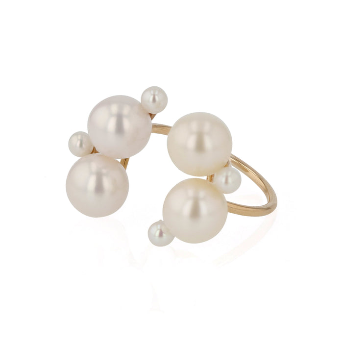 Pearl Buoy Open Ring Yellow Gold | Sarah & Sebastian