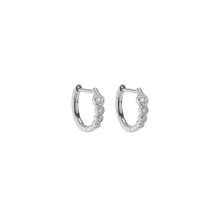 Fine Bloom Diamond Hoops White Gold | Sarah & Sebastian