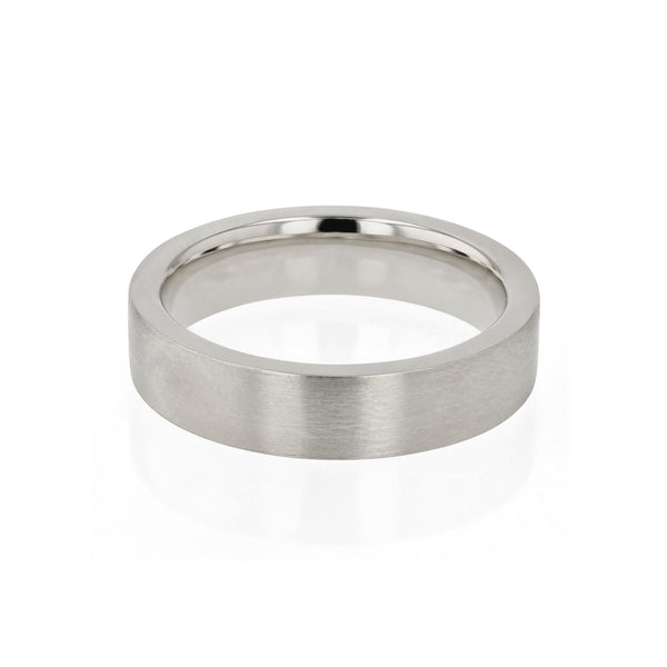 Level Bold II Brushed Mens Wedding Band White Gold | Sarah & Sebastian