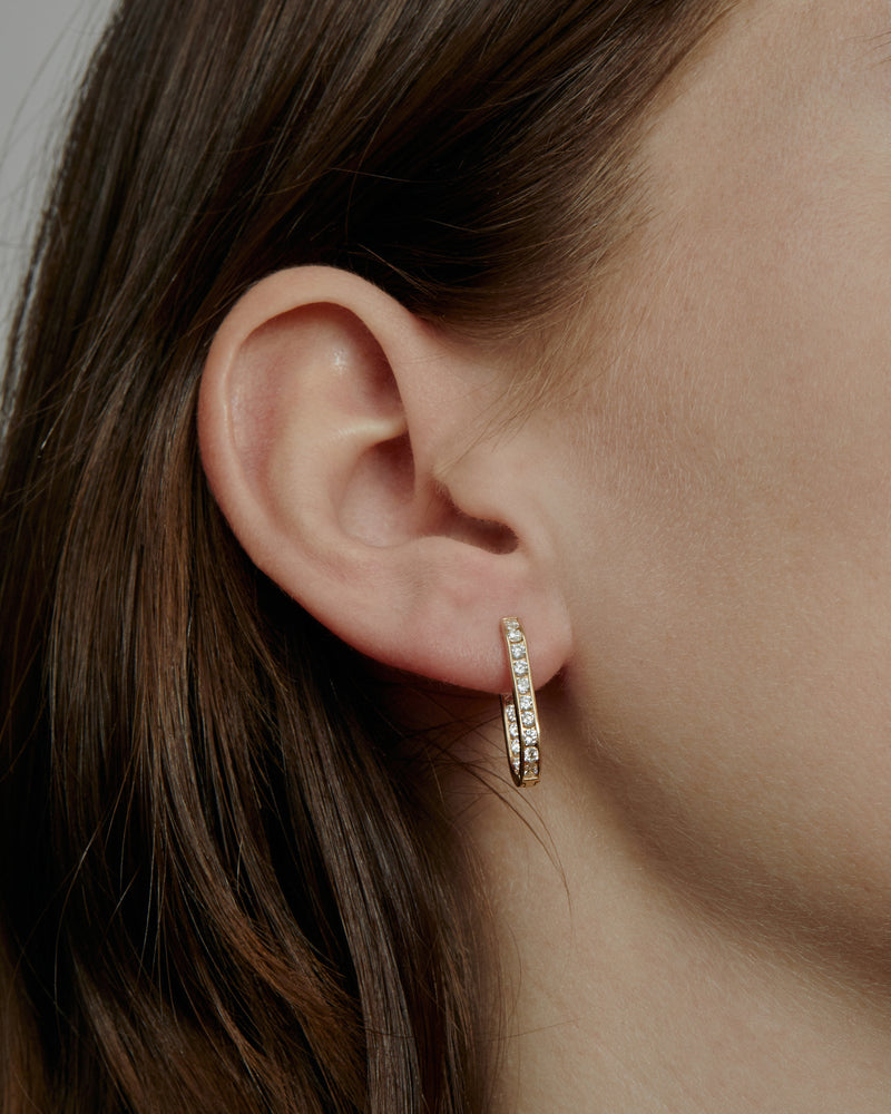 Diamond Channel Hoops Gold | Sarah & Sebastian onBody