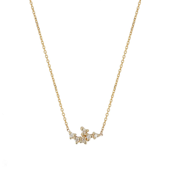 Cluster Diamond Pendant Necklace Yellow Gold | SARAH & SEBASTIAN