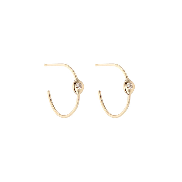 Fine Cell Diamond Hoop Earrings Gold | Sarah & Sebastian