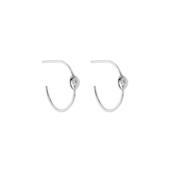 Fine Cell Diamond Hoop Earrings White Gold | Sarah & Sebastian