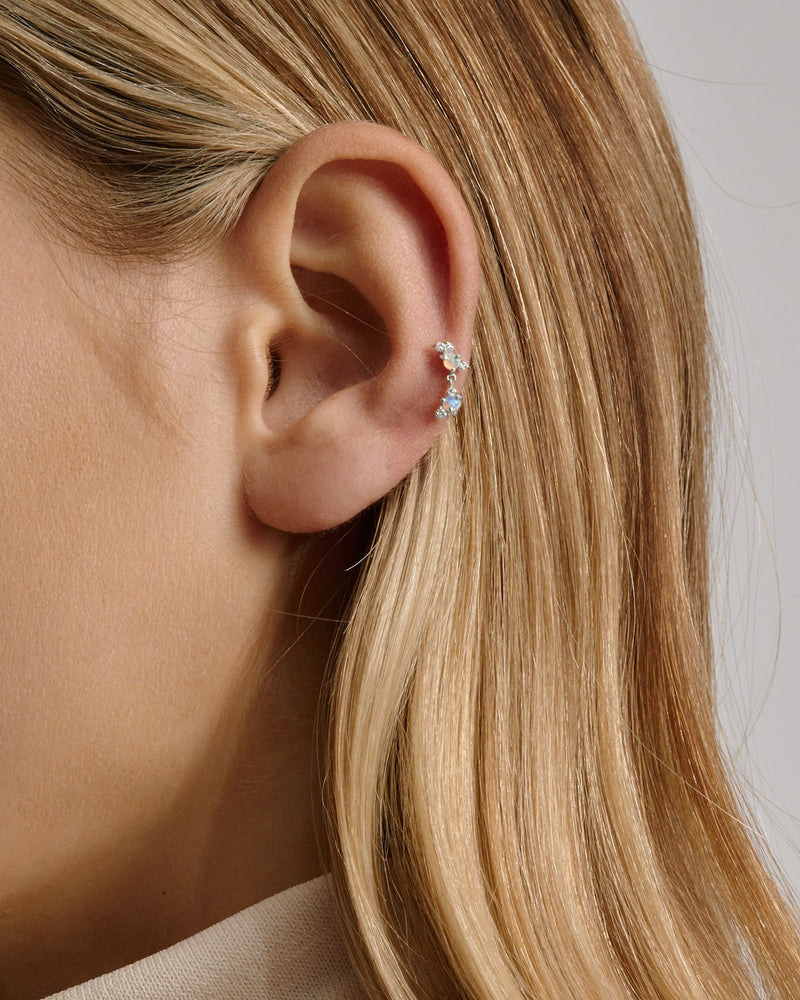 Chroma Opal Cartilage Earring White Gold | Sarah & Sebastian onBody