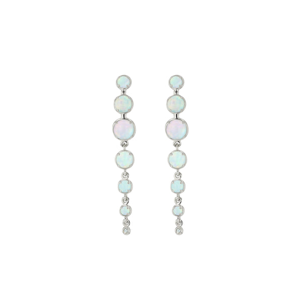 Chroma Opal Chain Earrings White Gold | Sarah & Sebastian