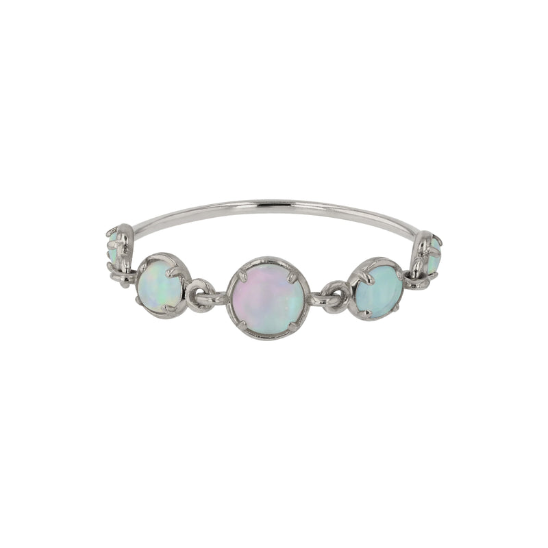 Chroma Opal Chain Ring White Gold | Sarah & Sebastian