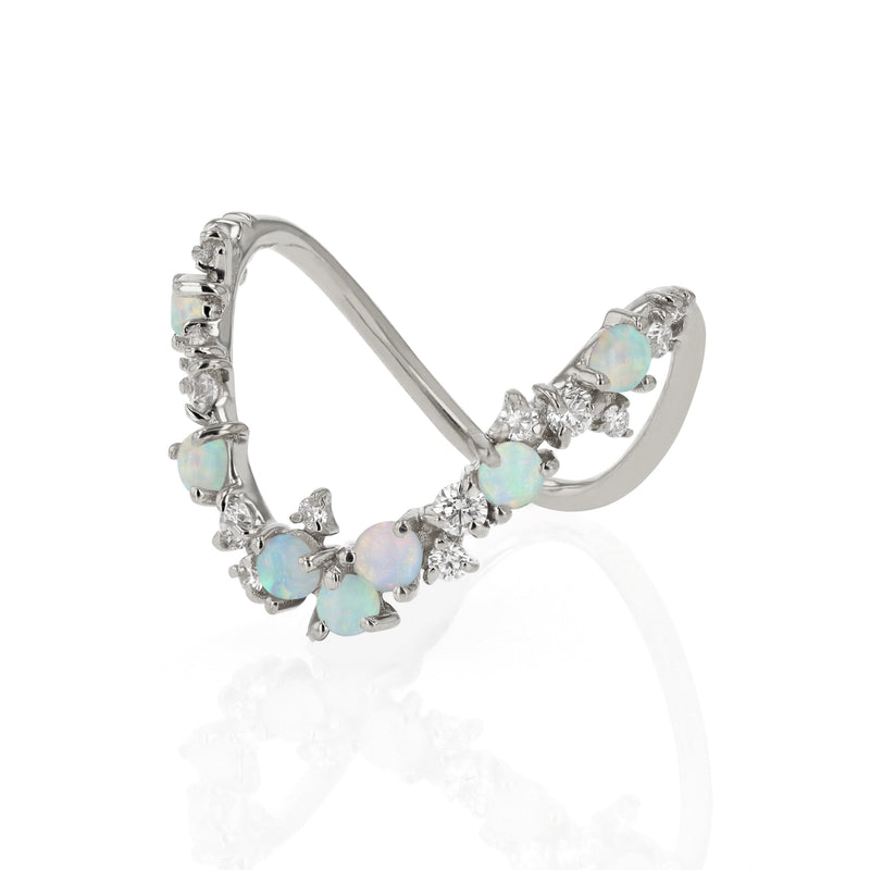 Statement Chroma Opal V Ring White Gold | Sarah & Sebastian