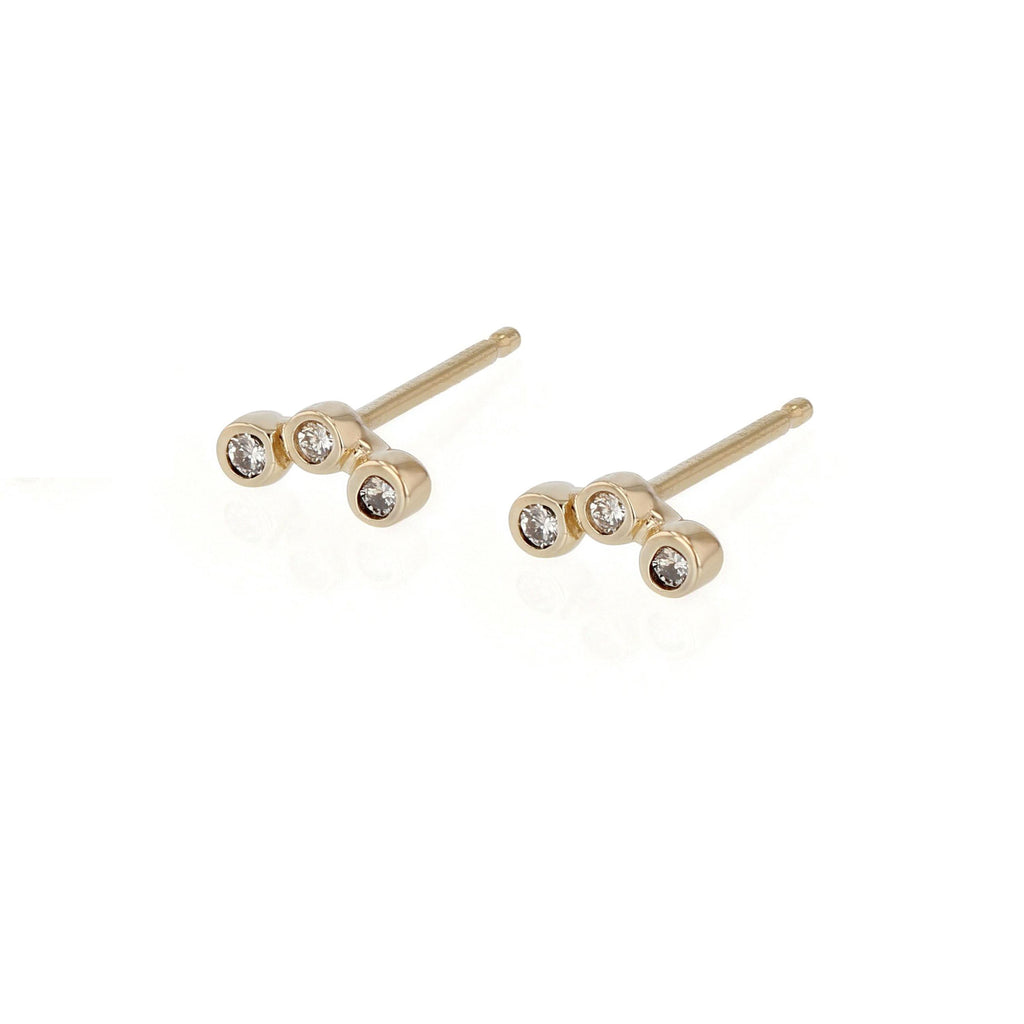 Diamond Bezel Trio Earrings