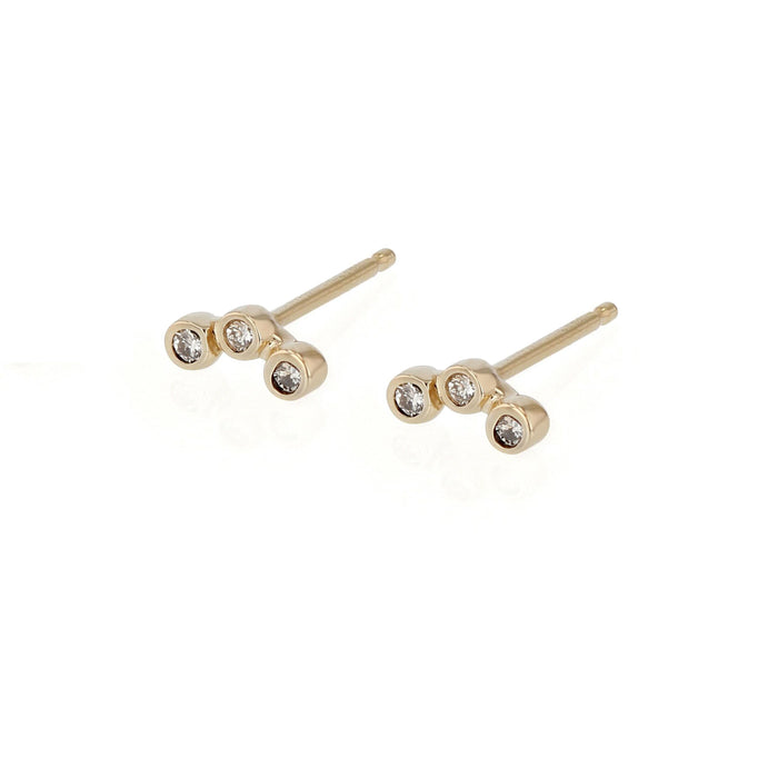 Diamond Bezel Trio Earrings Yellow Gold | Sarah & Sebastian