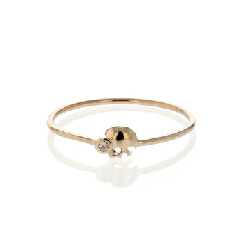 Diamond Skull Fine Band Ring Yellow Gold | Sarah & Sebastian