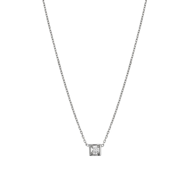 Deco Square Diamond Necklace White Gold | Sarah & Sebastian