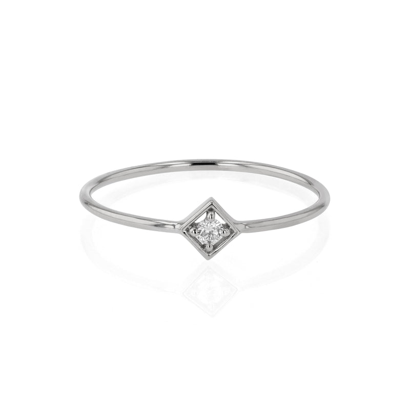 Deco Square Diamond Ring White Gold | Sarah & Sebastian