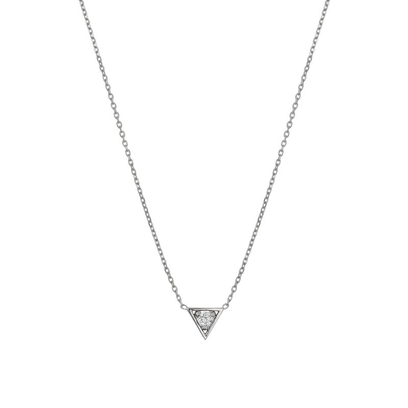 Deco Triangle Diamond Necklace White Gold | Sarah & Sebastian
