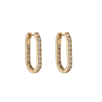 Diamond Channel Hoops Gold | Sarah & Sebastian