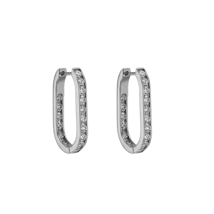Diamond Channel Hoops White Gold | Sarah & Sebastian