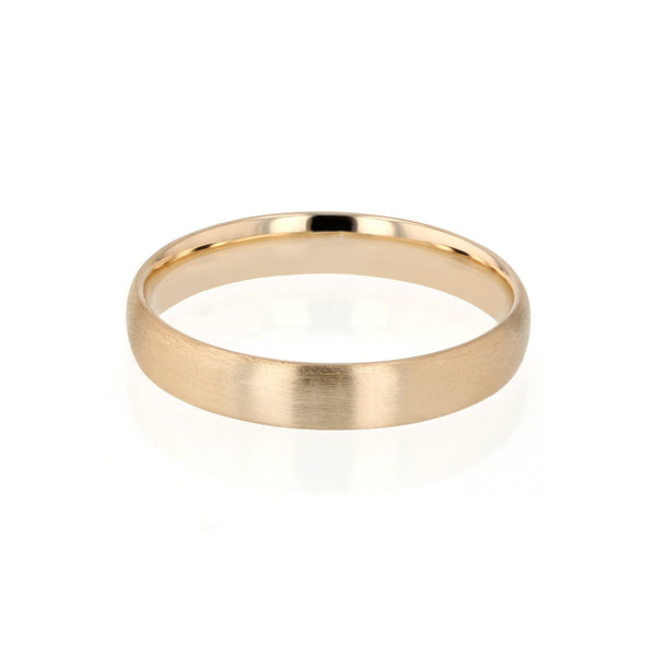Brushed Dome I Mens Wedding Band Gold | Sarah & Sebastian