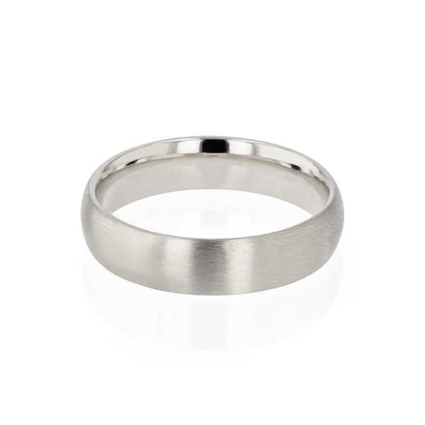 Dome II Brushed Mens Wedding Band White Gold | Sarah & Sebastian