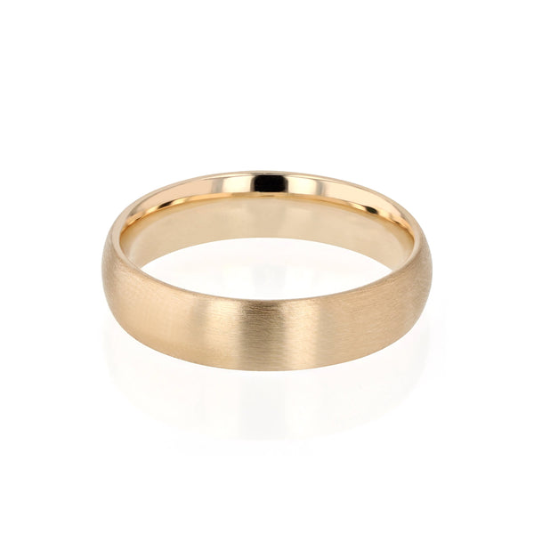 Dome II Brushed Mens Wedding Band Gold | Sarah & Sebastian