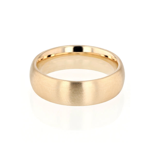 Mens Wedding Band Dome III Brushed Gold | Sarah & Sebastian