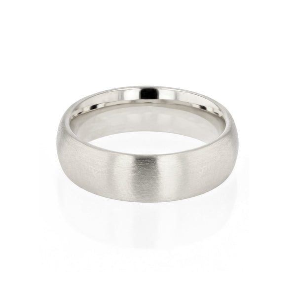 Dome III Brushed Mens Wedding Band White Gold | Sarah & Sebastian