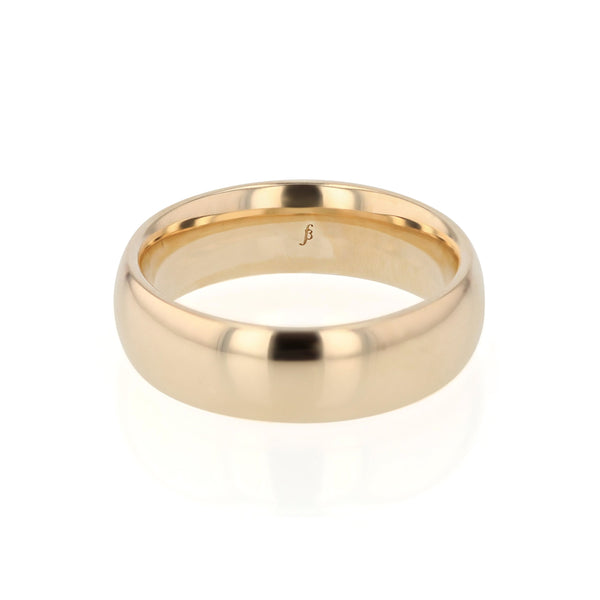 Mens Wedding Band Dome III Polished Gold | Sarah & Sebastian