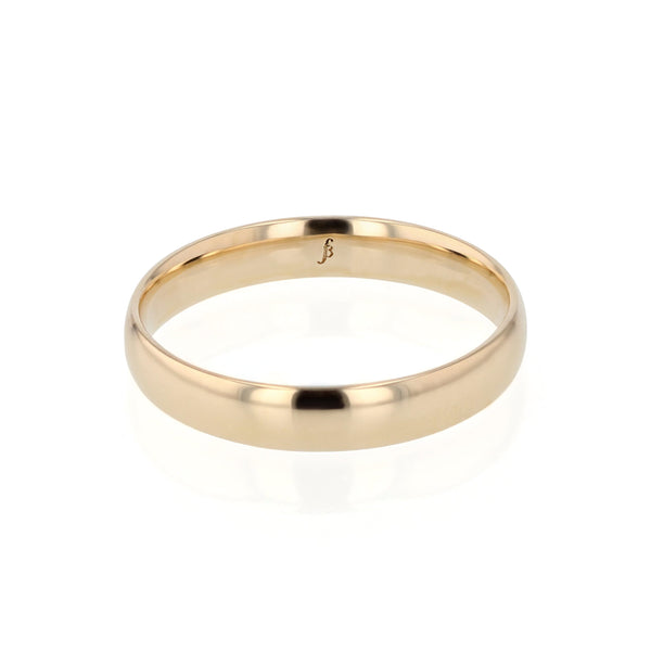 Dome I Polished Mens Wedding Band Gold | Sarah & Sebastian