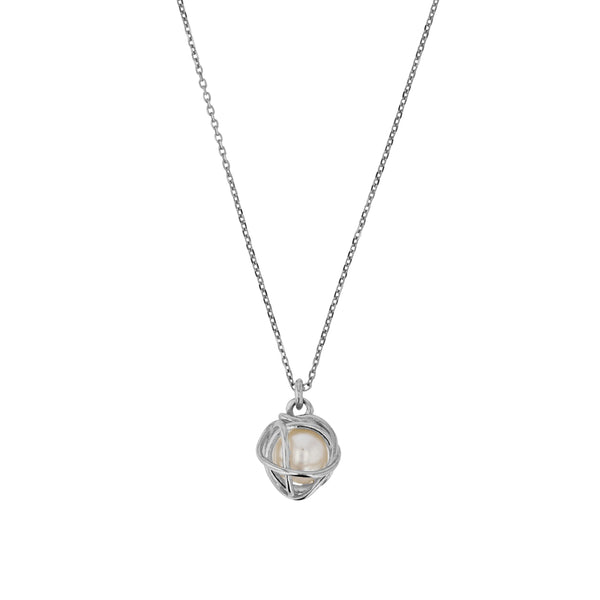 Fine Bound Pearl Necklace Silver | Sarah & Sebastian