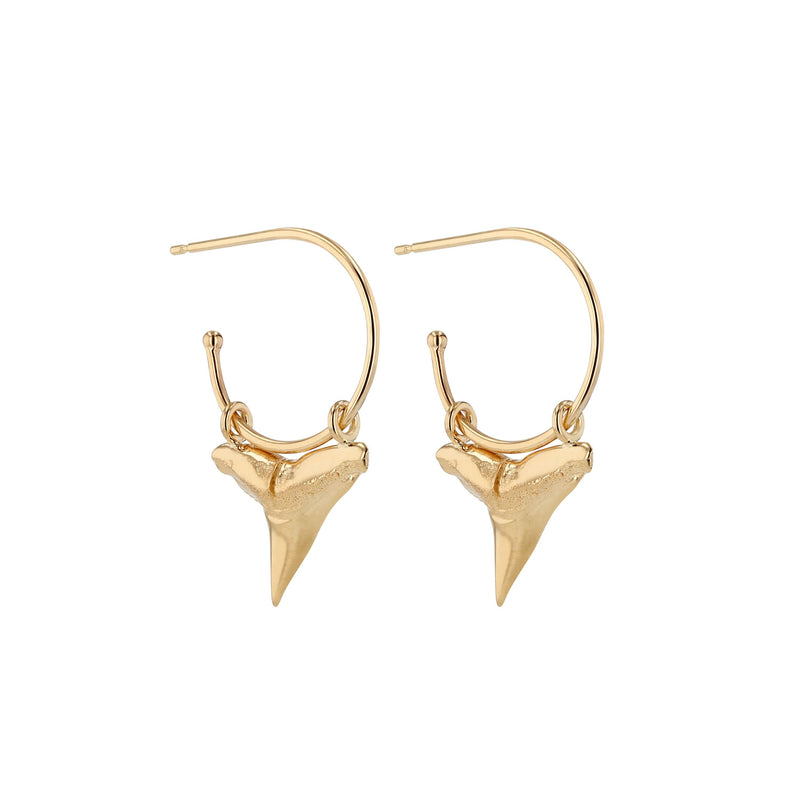 Fine Reef Shark Hoops Gold | Sarah & Sebastian