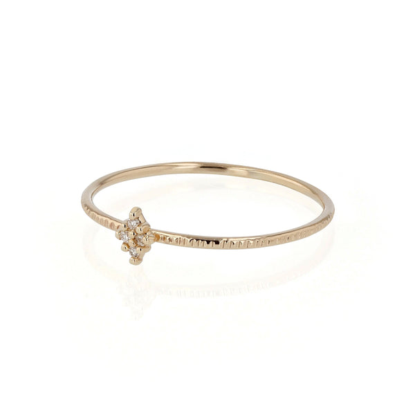 Fine Rhombus Diamond Ring Yellow Gold | Sarah & Sebastian